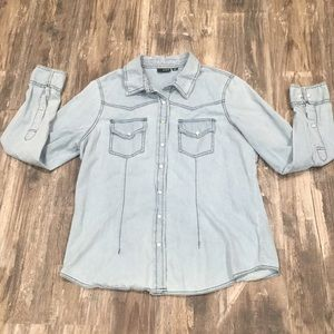 a.n.a Denim Pearl Snap Shirt